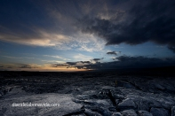 Atardecer sobre los campos de lava solidificada. Big Island