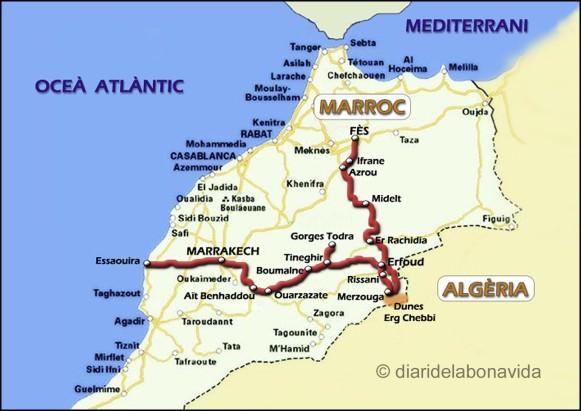 La nostra ruta pel Marroc. Clica per ampliar el mapa