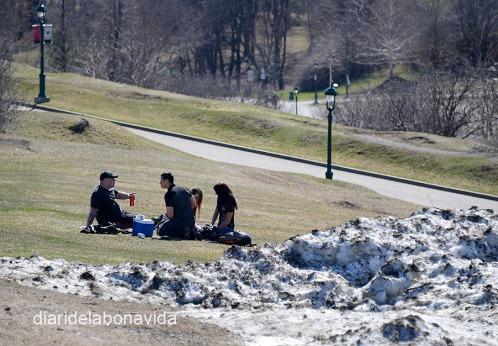 Aún quedaba nieve de la última semana en el Parque Plaines de Abraham. Quién lo diría que aquí tuvo lugar una de las batallas más importantes de la historia canadiense.